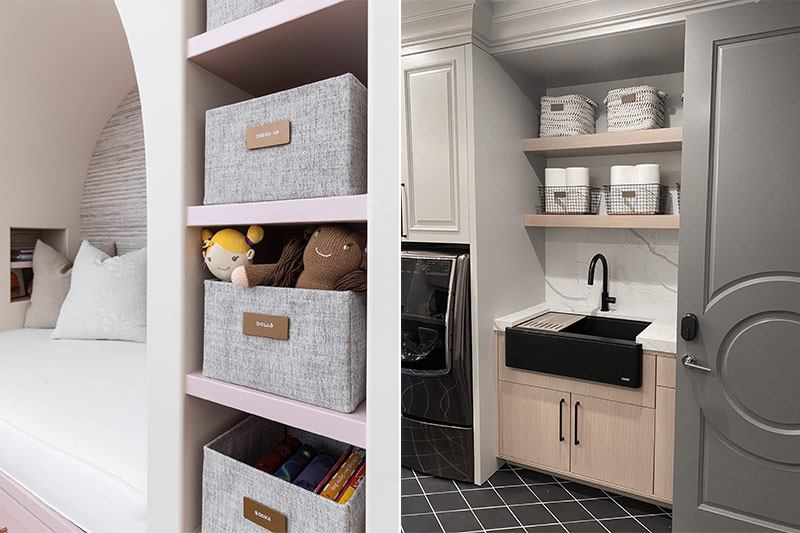 organizing laundry room and child room with labeled containers