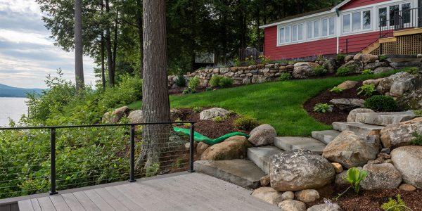 backyard transformation timbertech coastline deck nh
