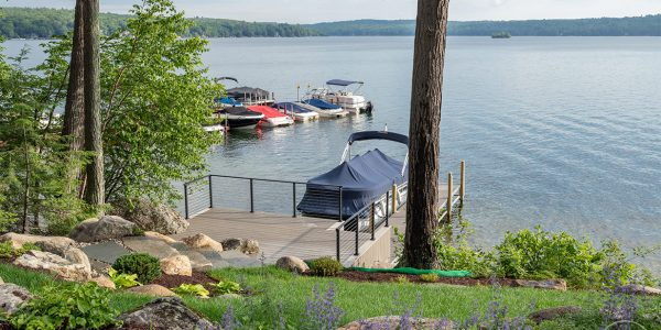 composite deck with cable railings lake winnisquam